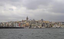 Galata-Brücke und galata Turm in Istanbul Lizenzfreie Stockfotografie