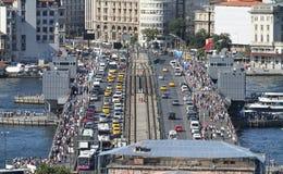 Galata Brücken- und Karakoy-Bezirk in Istanbul-Stadt Stockfoto