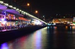 Galata Bridge. People have fun at cafes and restaurant on Galata Bridge in Istanbul, Turkey royalty free stock image