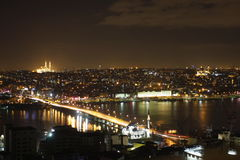 Galata bridge on Bosphorus, Istanbul nightview royalty free stock image