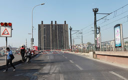 GALATA BRIDGE CLOSED TO TRAFFIC ON MAY DAY. Stock Images