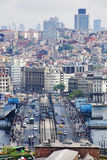 Galata Bridge and district Beyoglu in Istanbul Royalty Free Stock Images