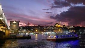 Galata Bridge And Eminonu Coastline, Istanbul, Turkey
