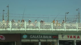 Galata Bridge fishermen Istanbul stock video footage