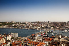 Galata Bridge from Galata Tower. Galata Bridge with Yeni (New) Mosque in the background in the turkish city of Istanbul Stock Images