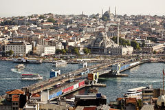Galata Bridge from Galata Tower. Galata Bridge with Yeni (New) Mosque in the background in the turkish city of Istanbul Royalty Free Stock Photos