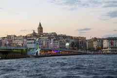 Galata Bridge with Galata tower Stock Photo