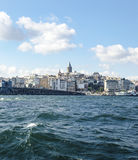 Galata Bridge and Galata Tower in the background, Istanbul views royalty free stock photo