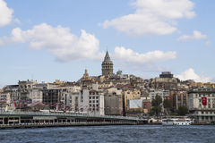 Galata bridge and Galata tower Royalty Free Stock Photography