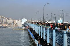 Galata Bridge on the Golden Horn. Royalty Free Stock Photos
