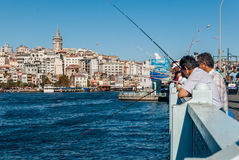 Galata Bridge and Golden Horn in Istanbul Stock Photography