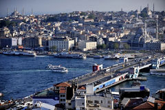 Galata Bridge and the Golden Horn Stock Photos