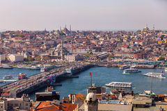 Galata Bridge in Istanbul. ISTANBUL, TURKEY – APRIL 28: The New Mosque and neighborhoods along the Bosphorus on April 28, 2012 in Istanbul, Turkey prior to Royalty Free Stock Images