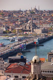 Galata Bridge in Istanbul. ISTANBUL, TURKEY – APRIL 28: The New Mosque and neighboroods along the Bosphorus on April 28, 2012 in Istanbul, Turkey prior to Stock Images