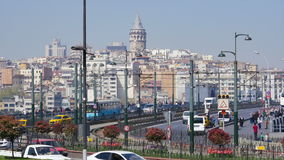 Galata Bridge in Istanbul, Turkey stock video footage