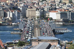 Galata Bridge and Karakoy district in Istanbul city Royalty Free Stock Photos