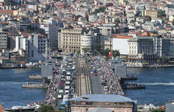 Galata Bridge and Karakoy district in Istanbul city Stock Images