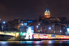 Galata bridge at night and Galata tower Stock Images