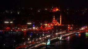 Galata Bridge and Night Traffic stock video footage