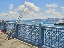 Galata bridge over the Golden Horn Bay. Istanbul, Turkey. royalty free stock images