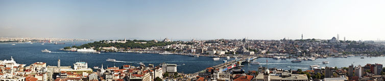 Galata Bridge and Topkapi Palace from Galata Tower. Galata Bridge with Yeni (New) Mosque in the background and Topkapi Palace in the turkish city of Istanbul Royalty Free Stock Photo