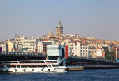 Galata Bridge and Tower on the Bosporus (Istanbul) Royalty Free Stock Images