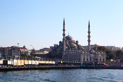 Galata Bridge and Yeni Mosque in Istanbul Royalty Free Stock Photo