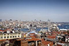 Galata Bridge and Yeni (New) Mosque, Istanbul Royalty Free Stock Image