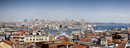 Galata Bridge and Yeni (New) Mosque, Istanbul Royalty Free Stock Photo