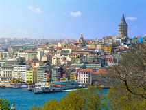 Galata District. View of the Galata district and the Galata Tower, Istanbul, Turkey Stock Images