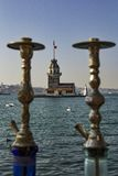Maiden tower. Istanbul Maiden Tower Hookah Landscape Stock Images
