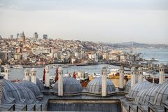 Galata and Karakoy district in Istanbul, Turkey Royalty Free Stock Images