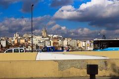 Galata Karakoy od Eminonu Istanbuł & wierza, Turcja obraz stock