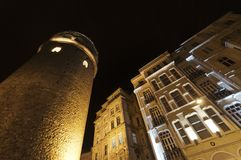 Galata Kontrollturm und Wohnungen, Istanbul, die Türkei Lizenzfreies Stockbild
