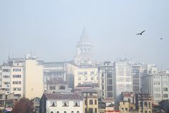 Galata region in heavy fog Stock Photo