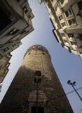 Galata tornnärbild och skytte från botten riktiga f?rger royaltyfri fotografi