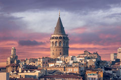 Galata Tower. In Istanbul Turkey stock photography