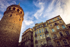 Galata tower in afternoon. Golden hour at Galata tower in Istanbul Royalty Free Stock Photo