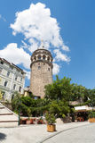 Galata Tower in the background of blue sky Stock Images