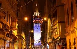 Galata Tower, Beyoglu District Istanbul. Overview from Buyuk Hendek Street to Galata Tower, in Beyoglu. Historical and Modern Buildings, Night Scene Royalty Free Stock Image