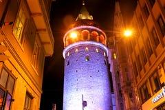 Galata Tower, Beyoglu Istanbul. Tower & Historical & Modern Buildigs, Houses, Street Lamps, Night Scene in Beyoglu Istanbul Turkey Royalty Free Stock Photos