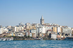 Galata tower and Bosfor stanbul. Galata Tower and city over Bosfor Istanbul Turkey stock photography