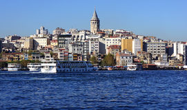 Galata Tower from the Bosphorus Royalty Free Stock Image