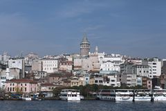 Galata tower from Bosphorus, Istanbul, December 2014 royalty free stock image
