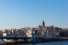 Galata Tower and Bridge with view of Karakoy quarter. Istanbul Stock Images