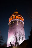 Galata Tower from Byzantium times in Istanbul. Night view of the Galata Tower from Byzantium times in Istanbul stock images