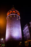 Galata Tower from Byzantium times in Istanbul. Night view of the Galata Tower from Byzantium times in Istanbul royalty free stock images