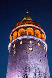 Galata Tower from Byzantium times in Istanbul. Night view of the Galata Tower from Byzantium times in Istanbul stock photos