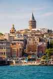 Galata Tower from Byzantium times in Istanbul. View of the Galata Tower from Byzantium times in Istanbul stock photo