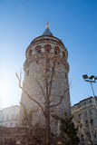 Galata Tower from Byzantium times in Istanbul. View of the Galata Tower from Byzantium times in Istanbul royalty free stock photos